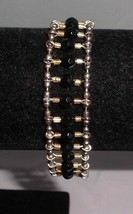Vintage Gold Tone Black & Gold Plastic Beaded Ladder Style Bracelet - $14.85