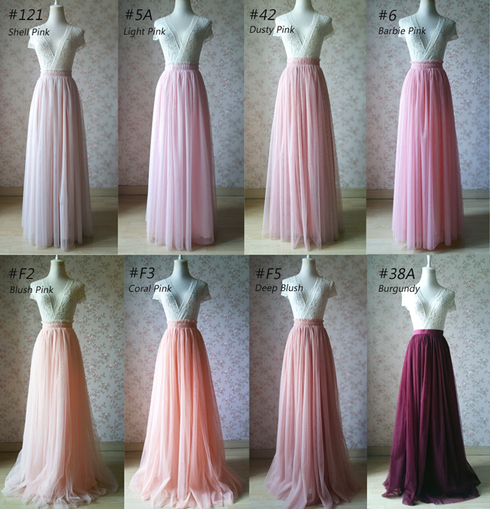 PALE PINK Floor Length Tulle Skirt Women Bridesmaid Tulle Skirts Wedding Outfits