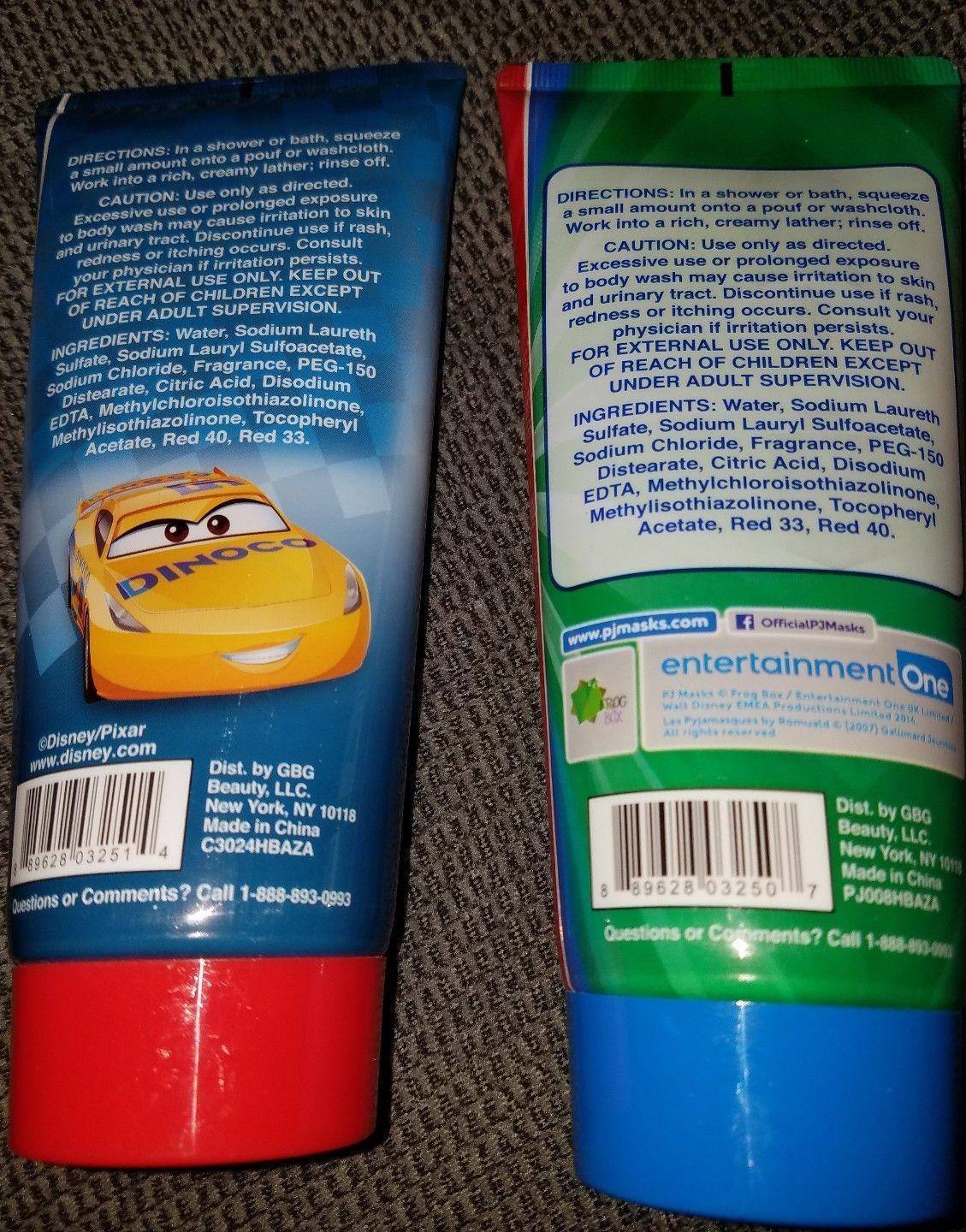 Lot Of 2 Boys Body wash Disney Cars, Pj Masks