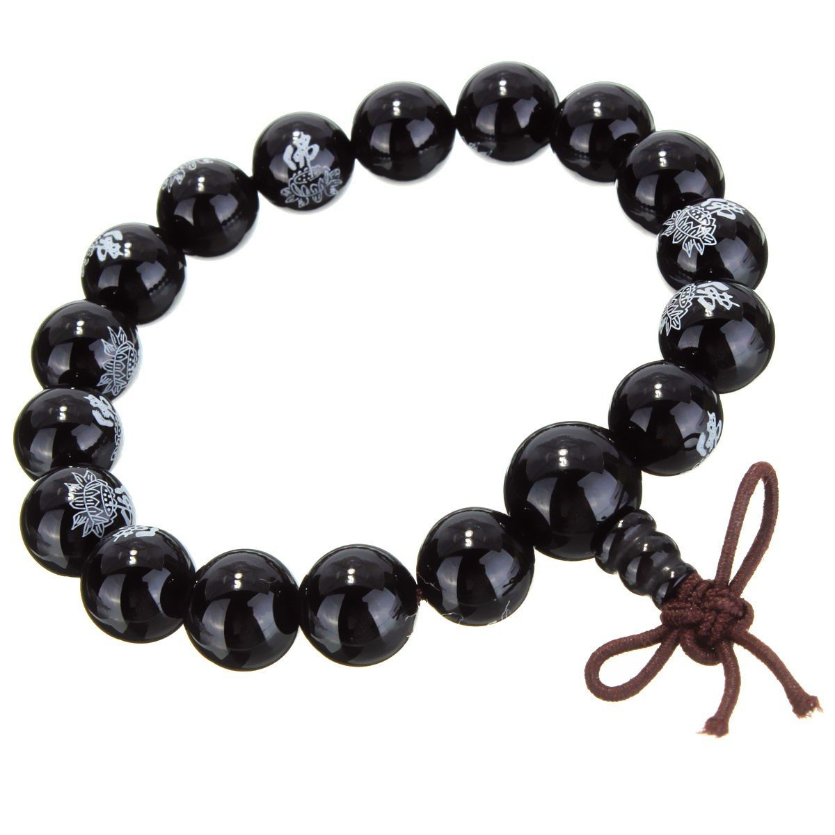Black Agate Mala with Lotus Flower Engraving