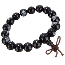 Black Agate Mala with Lotus Flower Engraving image 1