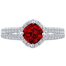 Cushion cr Ruby & Round Diamond 3.21 tcw Split Shank Unique Ring 14k W Gold - £360.15 GBP