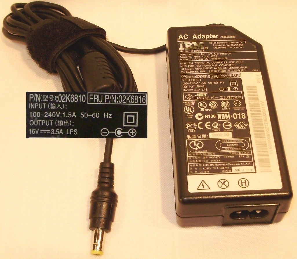 IBM Thinkpad 02k6810 AC Adapter 16vdc 3.5a t42 x30 x31 x32 x40 x41