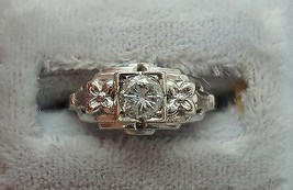 14K Gold .25ct Genuine Natural Diamond Ring with Flowers On Mounting (#J885) - $550.00