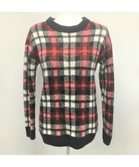 Divided H&M Plaid Long Sleeve Crew Neck Sweater Red Black White Acrylic ... - $14.52