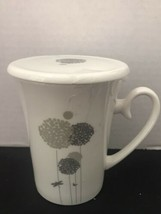 Teavana Dragonfly Tea Cup Lid New Bone China White Gray Floral 10 oz. No infuser - $15.45