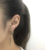 Authentic Christian Dior Star Black Grey Crystal DIOR Dangle Drop EARRINGS  image 8