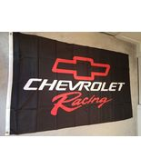 Chevrolet Racing & Bow Tie on a 3 x 5 ft Black Flag w/grommets - $20.00