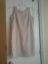 LIZ CLAIBORNE Liz Sport Khaki Tan Linen Blend Sleeveless Sun Dress Peti... - $12.99
