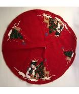 "Vintage Christmas Tree Skirt Felt Sequin Red Snowman Tree Handmade 32"" H... - $74.99"