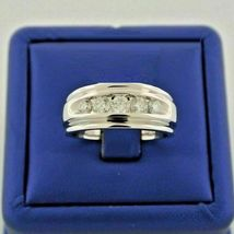 14k White Gold Finish 925 Real Silver Mens Wedding Diamond Engagement Pinky Ring - £73.86 GBP
