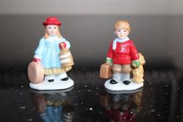 Set of 2 Vintage Colonial Lefton Village Children Figurines Lefton 11266 - $27.99