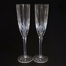 2 (Two) MIKASA APOLLO Lead Crystal Champagne Flutes Height: 9 3/8 in DIS... - $42.74