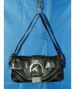 COACH BLACK LEATHER SOHO BUCKLE FLAP SHOULDER BAG L05D-8A05 - $44.55
