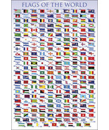 Flags of the World Classroom Educational Chart Nations Countries Poster ... - $19.88