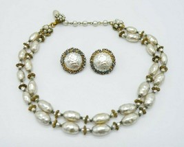 Miriam Haskell Dual Strand Faux Pearl Glass Bead Choker Necklace Earring... - $197.99
