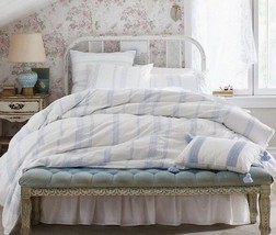 Simply Shabby Chic Twin Bohemian Embroidered Duvet Cover 2 Pc White Blue - $35.99