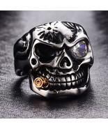 Titanium Stainless Steel Skull Ring Vintage Punk Goth Biker sz 12 New