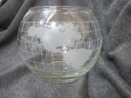 FROSTED GLASS WORLD GLOBE VASE OR FLOATING CANDLE HOLDER VINTAGE NESTLE ... - $20.00