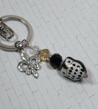 Owl Black Gold Ceramic Crystal Silver Fleur De Lis Keychain Purse Charm New - $17.45