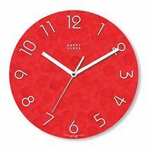 Happy Virus 5024 Red White MDF Non-Ticking Silent Quartz Decorative Modern Round