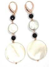 Boucles D'Oreilles Pendantes or Rose, 18K 750, Onyx Noir , Perles, Nacre Disque image 2