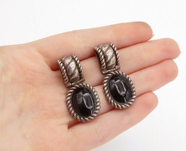 925 Sterling Silver - Vintage Cabochon Cut Black Onyx Twist Drop Earring... - $48.64