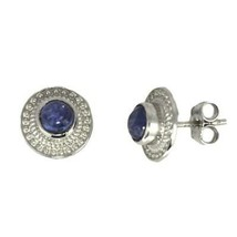 Traditional Looking 5MM Round Tanzanite Stone 925 Silver Stud Earring - $13.79