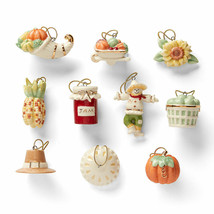 Lenox Autumn Favorites Miniature Tree Ornaments 10 Thanksgiving Pie Pump... - $70.00