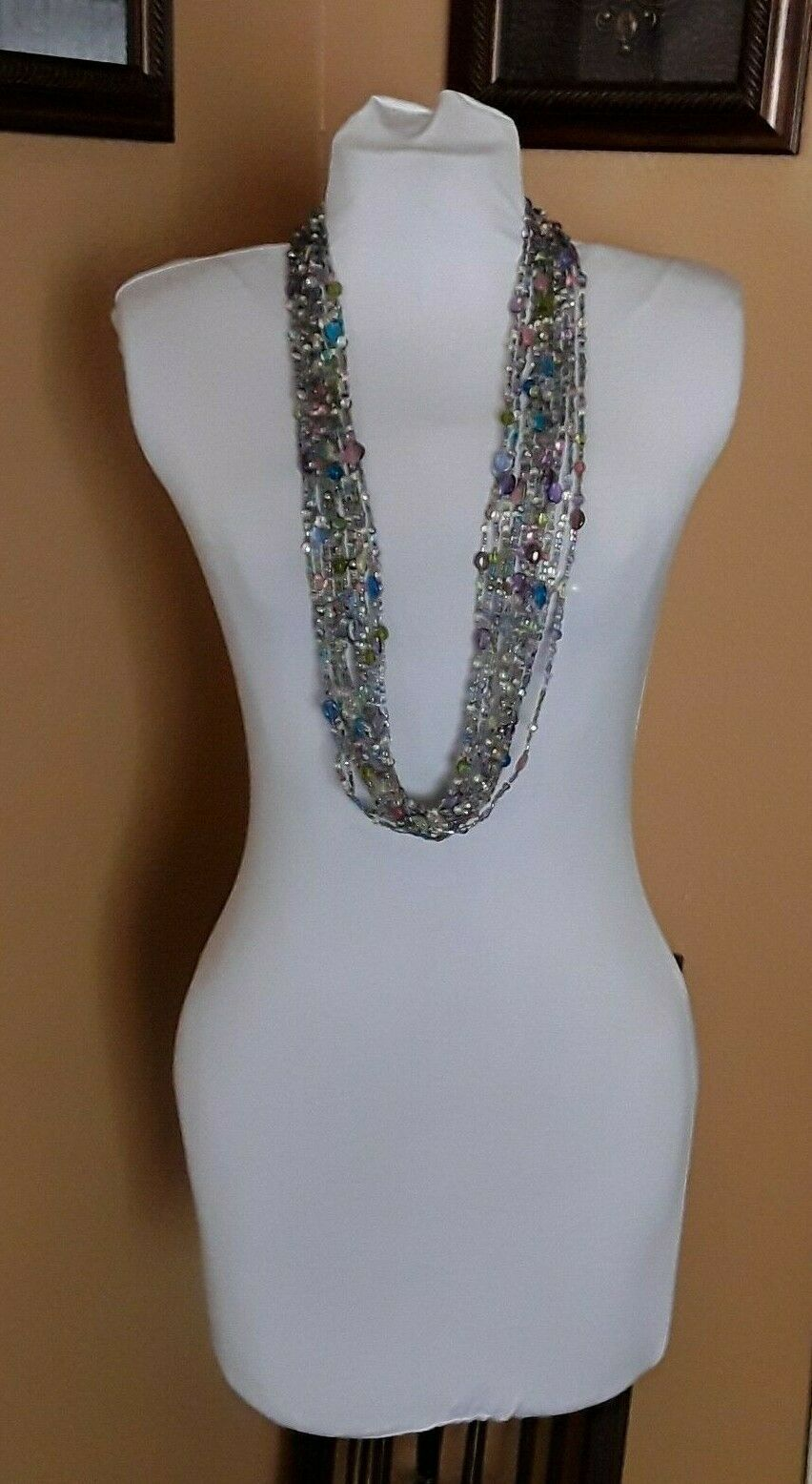"JOAN RIVERS Blue Green Pink Multi Strand Torsade 40"" Beaded Necklace EUC image 7"