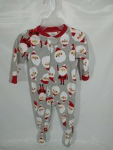 Christmas Pajamas 12M Santa Red Gray Twins Carter's Winter Siblings Lot of 2 - $21.99