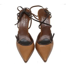 Auth Valentino Garvani Brown Pointed Leather Buckle Pumps Slim Heels MSR... - $112.20