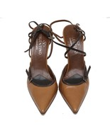 Auth Valentino Garvani Brown Pointed Leather Buckle Pumps Slim Heels MSR... - $112.20