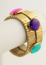 VINTAGE Jewelry BIG GEM CABOCHON WIDE STRETCH BRACELET - $20.00