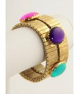 VINTAGE Jewelry BIG GEM CABOCHON WIDE STRETCH BRACELET - $20.00