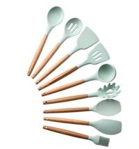 9PCS Silicone Cooking Utensils Set Non-stick Spatula Shovel Wooden Handle  - $48.35 CAD