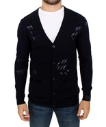 Karl Lagerfeld Blue wool cardigan sweater 10582 - $264.55