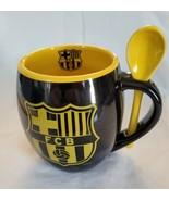 FC Barcelona Ceramic Black Yellow FCB Logo Mug Cup Yellow Spoon - $16.82