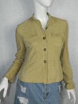 Ralph Lauren Polo Jeans Jacket Women's Beige Suede Leather Fitted Jacket... - $46.50