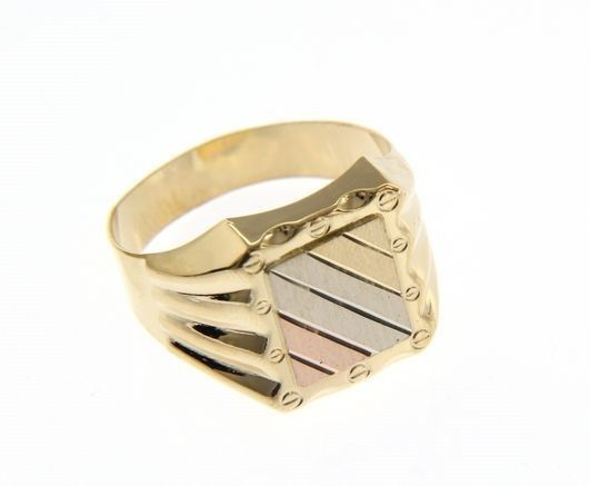 SOLID 18K YELLOW WHITE ROSE GOLD BAND MAN RING SATIN LUMINOUS, MADE IN ITALY