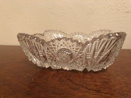 1950's Imperial Glass mark Square Pressed Clear Glass Bowl-Sawtooth Edge - $3.75