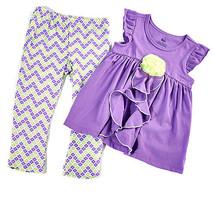 New girls size 4T leggings set chevron pants & purple top w/ rose appliq... - $11.99