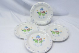 Enchanted Forest Xmas Snowman Snowflake Dinner and Salad Plates Lot of 8 image 2