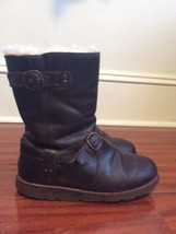 UGG Noira Brown Leather Moto Boots Waterproof Ladies Size 6 (G) - $39.12
