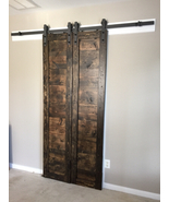 Sliding barn doors, includes track and rollers, solid wood - $599.00