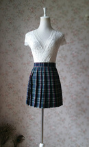 Dark Green PLAID SKIRT School Plus Size Mini Plaid Skirts Women Pleated Skirts image 1
