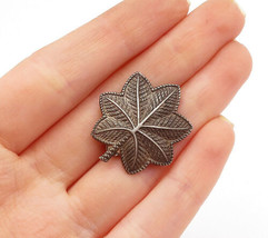 925 Sterling Silver - Vintage Dark Tone Etched Autumn Leaf Brooch Pin - BP4900 - $27.78