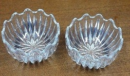 PAIR OF MID-CENTURY STACKABLE WAVY EDGE GLASS B... - $12.20