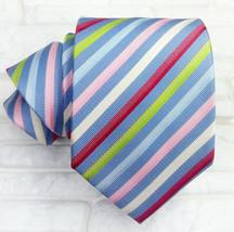 Luxury necktie men striped blue 100% silk Made in Italy Morgana brand cl... - $57.82