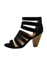Qupid Chamber 26X Black Suede Women's Strappy Caged Stacked Heel - $35.95